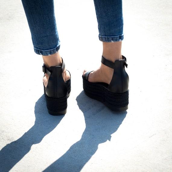 flatform sandals black sandals Flatform wedge greek Black Sandals espadrille leather sandals genuine