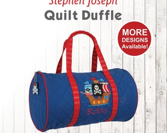 Pirate Ship Duffle Bag, Stephen Joseph Quilt Duffel, Embroidered Toddlers Duffle, Monogrammed Duffel, Personalized Pirate Ship Duffle Bag