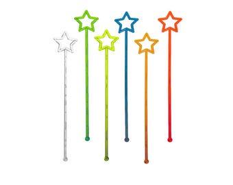 Rainbow Star Plastic Muddlers / Neon Clear Stirring Sticks / Long Party Drink Decor Swizzle Sticks For Milkshake, Iced Tea, Mixed Drinks