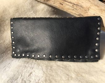 Leather Clutch with Studs