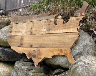 Reclaimed Planked Wood USA Map