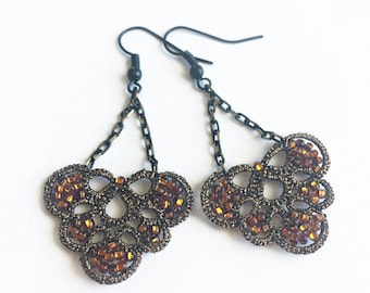 Gold Brown Lace Earrings, Beaded earrings, Lightweight earrings, Tatting earrings, Lace jewelry, Old Gold Earrings, Brown Dangle Earrings