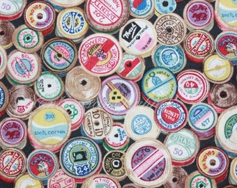 retro fabric MULTICOLOR sewing spools