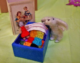 needle wool felted hand-made artistic/collectable doll Bunny Bun with bed, clothes and accesssories