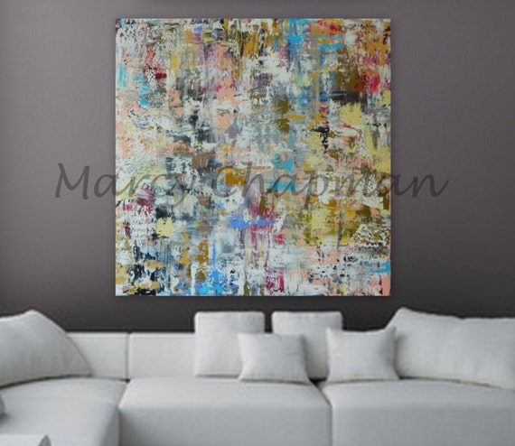 "XL, Large, Huge Abstract Painting 46"" x 46"" unstretched canvas painting modern contemporary wall art abstract original acrylic art textured"
