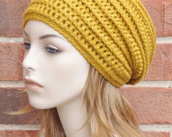 Crochet Slouchy Hat - Mustard Gold Yellow Slouchy Beanie Hat - Womens Ribbed Beanie Hat - Winter Slouchy Hat  // THE HARLOW //