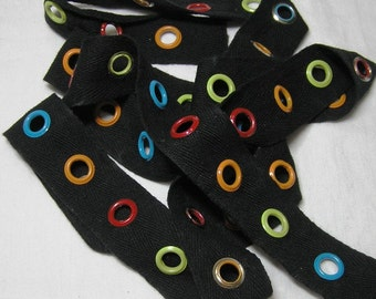 Jumbo Colorful Eyelet Grommet Tape, Black Twill Tape, Enamel Eyes, 1.5 In. Wide, BY the YARD, Lace-Up, Sewing Notion, Steampunk, Eyelet Trim
