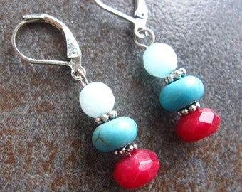 Amazonite, turquoise, ruby and silver dangle earrings