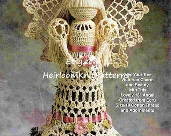 Crochet Angel Pattern Victorian Christmas Tree Topper Lacy Angel Tree Top Angel Christmas Angel Tree Trims Instant Download PDF - 1072