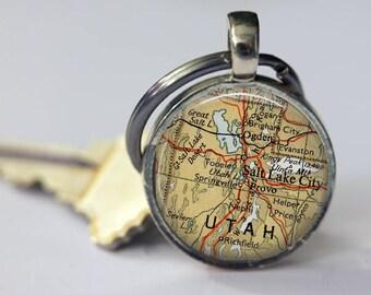 Utah personalized keychain for women, Salt Lake City custom keychains, Utah charm keychain, Utah retirement keychain, Provo map gift men