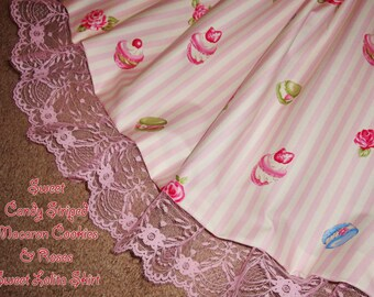 Candy Striped Macaron Cookies & Roses Sweet Lolita Skirt - Pink - ANY SIZE