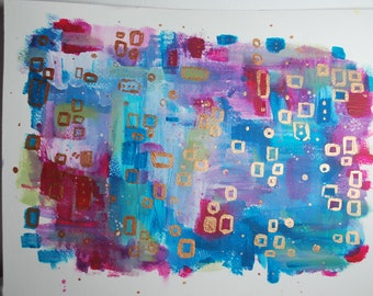 Abstract mixed media, watercolour, acrylics and ink on thick cartridge paper