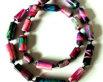 DIY Necklace, Polymer Necklace, Polymer Clay, cool necklace, OOAK necklace, Wearable Art, Polymer Art, Mokume Gane, Polymer clay jewelry