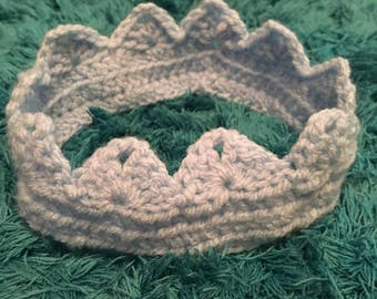 Light blue baby crochet crown