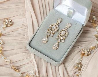 Wedding Jewelry Gold Earrings Chandelier Earrings Bridal Accessories Teardrop Earrings Long Earrings Mother of the Bride Bridal Sets E140-G