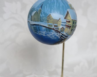 Hand Painted Christmas Ornament of Hallstatt, Austria Wrap Around Design