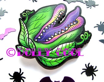 Audrey 2 Brooch by Dolly Cool Wooden Novelty Pin Gothic Horror B Movie Little Shop of Horrors Audrey II Halloween