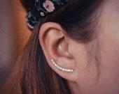 Diamond Ear Climbers Sterling Silver - Lucky 9s