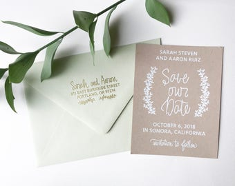 Laurel Save the Date stamp - custom hand lettered save the date stamp - save the date invitations - save the dates - DIY wedding stamp H1150