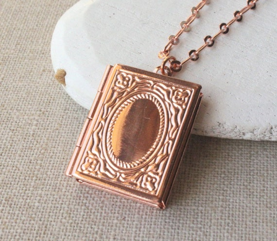 Book locket necklace rose gold silver or brass book book locket necklace rose gold silver or brass book necklace photo locket rose gold locket pendant gift for bibliophile book worm n174 aloadofball Images