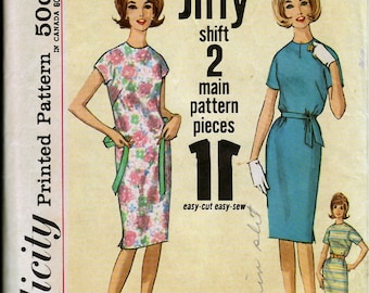 "Bust 31 1/2-60's  Simplicity 4919  Teens' and Juniors' One-Piece Jiffy Dress:  ""Simple to Sew""  Size 11"