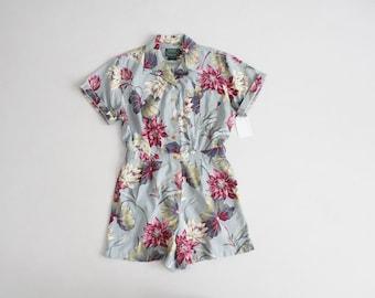 Combi-short floral botanique | Vintage Combi-short Ralph Lauren | Short barboteuse floral bleu et rose