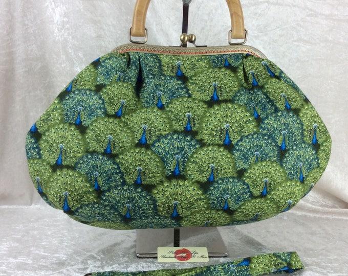 Handmade handbag purse kiss clasp frame Betty bag Peacocks