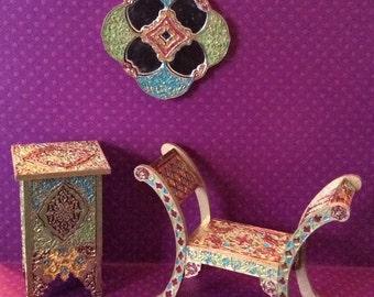 "Miniature Moroccan Furniture, 1"" Scale"