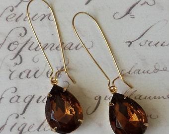 Topaz Teardrop Earrings - Teardrop Rhinestone Earrings - Dark Topaz Earrings - Rhinestone Teardrop Jewelry, Topaz Earrings