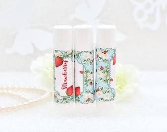 30 Strawberry Lip Balm Labels, Strawberry Chapsrick Wrappers, Strawberry Party Favor, Strawberry Birthday Labels