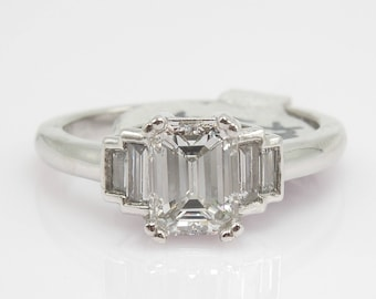 1.01 ct Emerald Cut Diamond Ring in Platinum with Baguettes