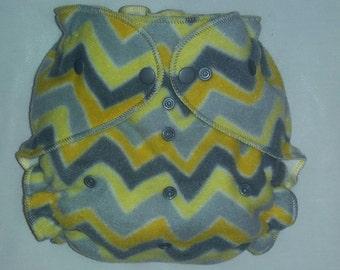 Yellow and gray chevron diaper wrap