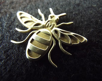 MancBee BRASS -  the Manchester Bee pin / badge / brooch and pendant  - Made in Manchester
