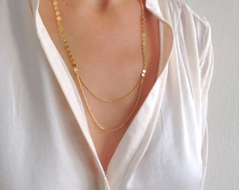Dainty Necklace, Gold Necklace, Layered Necklace, Bridal Jewelry, Bridesmaids Gift Ideas, Romantic Necklace, Wedding Necklace