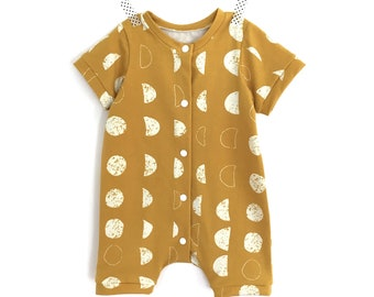 MOON phases short romper -  summer romper - unisex romper - baby boy take home outfit
