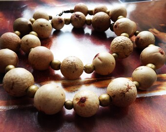 Rustic organic natural plant beaded necklace and painted wood