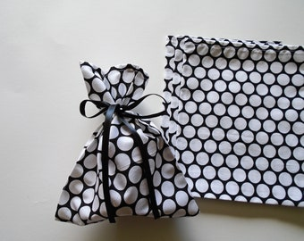 Party Cloth Gift Bags - Set of (4) Four Gift Bags, Black and White Polka Dot Party Bags, Fun Cloth Party Bags, Dots all Over