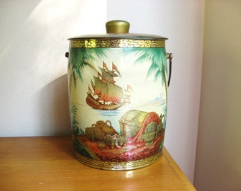"""Vintage Baret Ware English Cookie Tin, Large Tin, Made in England, """"Treasure"""" Biscuit Barrel, Pirate Treasure Chest"""