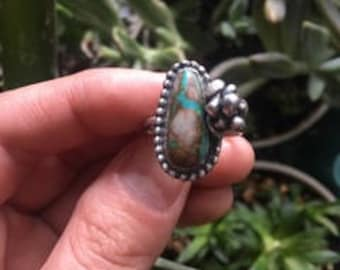 Royston Turquoise Succulent Ring//  Size 8