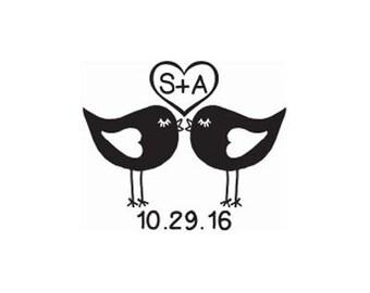 custom wedding stamp cute Love Birds Kissing with date Rubber Stamp lovebirds heart black lovebirds