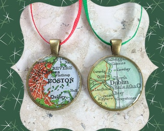 2 Map Christmas Ornaments Medallions Custom Cities 25mm   Housewarming Gift  Hometown Set of 2  Bronze  Small Size
