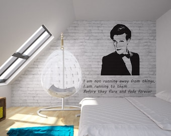 The 11th Dr. Who-Wall Decal with optional quote