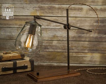 Glass Shade Edison Bulb Table Lamp | Bronze | Desk Lamp | Edison Light Bulb  | Table Lamp | Bed Light | Night Stand