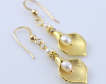 Golden Lily Earrings - Gold Filled, White Fresh Water Pearls, Czech Crystals