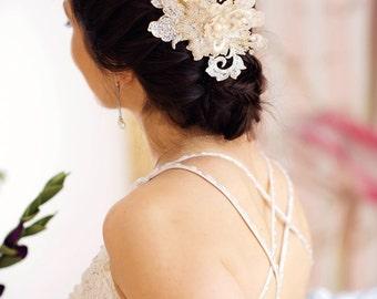 Gold Bridal hair comb, gold lace headpiece, Bridal Fascinator -Isabella