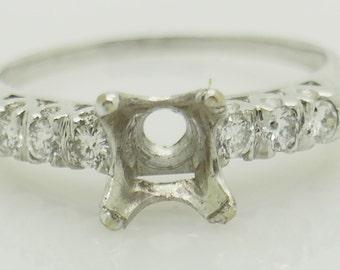 14K White Gold 0.25ctw G-VS Round Cut Natural Diamond Engagement Ring Setting; sku # 5360