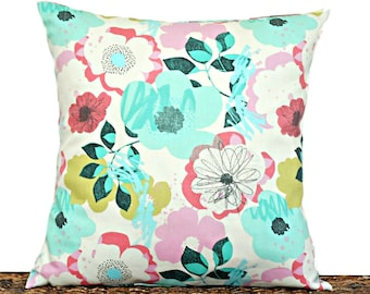Floral Pillow Cover Cushion Pink Coral Lime Green Aqua Turquoise Black Modern Decorative Spring Summer 18x18
