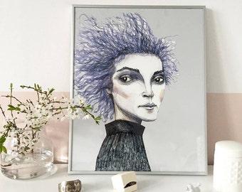 ERYKA. Girl's portrait, Poster, Art Illustration. Giclèe print on archival paper. 40x50 cm