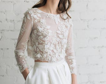 Bridal Lace Top, Wedding Top, Bridal Separates , Bridal Floral Lace Top, 3D Wedding Top , Bridal Crop Top, Gold  Ivory Wedding Top -CAMILA
