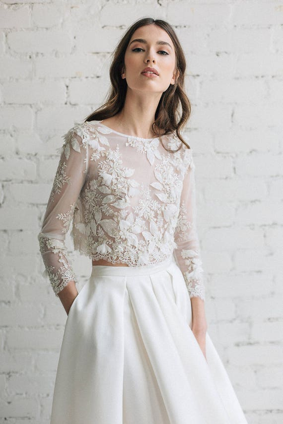 Wedding top bridal lace top bridal separates floral lace wedding top bridal lace top bridal separates floral lace top 3d wedding top bridal crop top gold ivory wedding top camila junglespirit Images